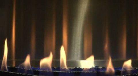 Fire in Gas Fireplace Insert