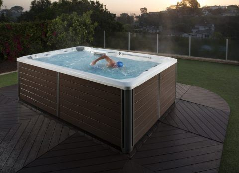 Man Swimming in X500 Fitness Spa