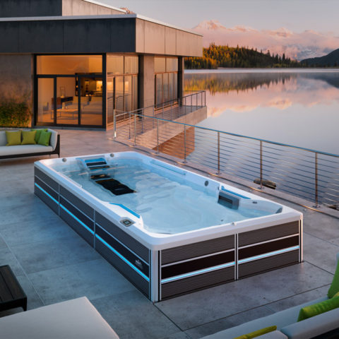 E700 Swim Spa lakeside installation.