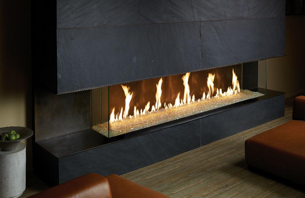 Davinci Bay Window Linear Gas Fireplace San Mateo
