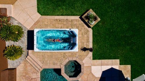 Endless Pools Swim Spas E550 overhead view.
