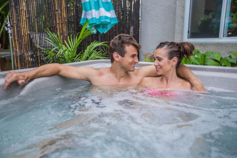 Couple enjoying a moment in a fantasy spa